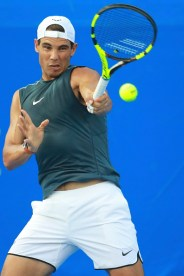 ACAPULCO, MEXICO - FEBRUARY 27: Rafael Nadal takes a forehand shot during a training session ahead of the Telcel ATP Mexican Open 2017 at Mextenis Stadium on February 27, 2017 in Acapulco, Mexico. (Photo by Miguel Tovar/LatinContent/Getty Images)