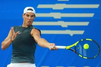 ACAPULCO, MEXICO - FEBRUARY 27: Rafael Nadal of Spain takes a forehand shot during a training session ahead of the Telcel ATP Mexican Open 2017 at Mextenis Stadium on February 27, 2017 in Acapulco, Mexico. (Photo by Miguel Tovar/LatinContent/Getty Images)