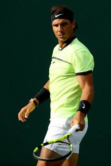 KEY BISCAYNE, FL - MARCH 24: Rafael Nadal of Spain plays Dudi Sela of Israel during the Miami Open at the Crandon Park Tennis Center on March 24, 2017 in Key Biscayne, Florida. (Photo by Matthew Stockman/Getty Images)