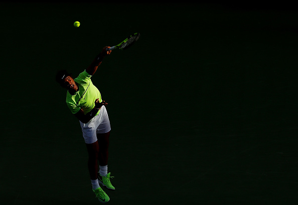 KEY BISCAYNE, FL - MARCH 24: Rafael Nadal of Spain seves against Dudi Sela of Israel during day 5 of the Miami Open at Crandon Park Tennis Center on March 24, 2017 in Key Biscayne, Florida. (Photo by Al Bello/Getty Images)