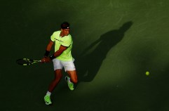 KEY BISCAYNE, FL - MARCH 24: Rafael Nadal of Spain reterns a shot against Dudi Sela of Israel during day 5 of the Miami Open at Crandon Park Tennis Center on March 24, 2017 in Key Biscayne, Florida. (Photo by Al Bello/Getty Images)