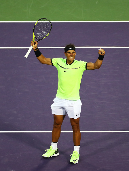 KEY BISCAYNE, FL - MARCH 26: Rafael Nadal of Spain celebrates match point against Philipp Kohlscreiber of Germany during Day 7 of the Miami Open at Crandon Park Tennis Center on March 26, 2017 in Key Biscayne, Florida. (Photo by Al Bello/Getty Images)