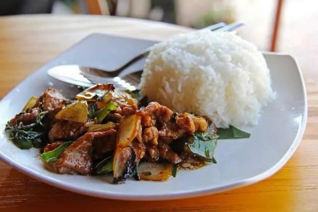 Dove mangiare a Luang Prabang: carne di maiale con riso