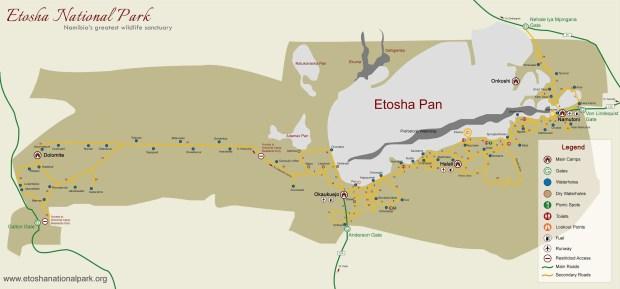 La mappa del Parco Etosha
