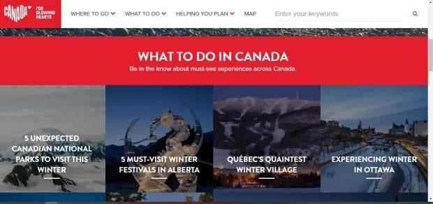 Il sito ufficiale del turismo canadese
