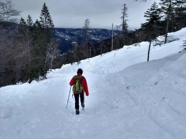 Un tratto della strada che porta al Rifugio Giaf in inverno