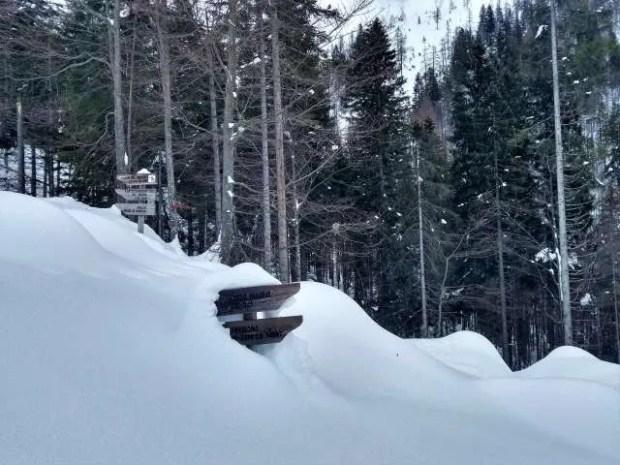 Cartelli segnavia sommersi di neve nei pressi del Rifugio Giaf