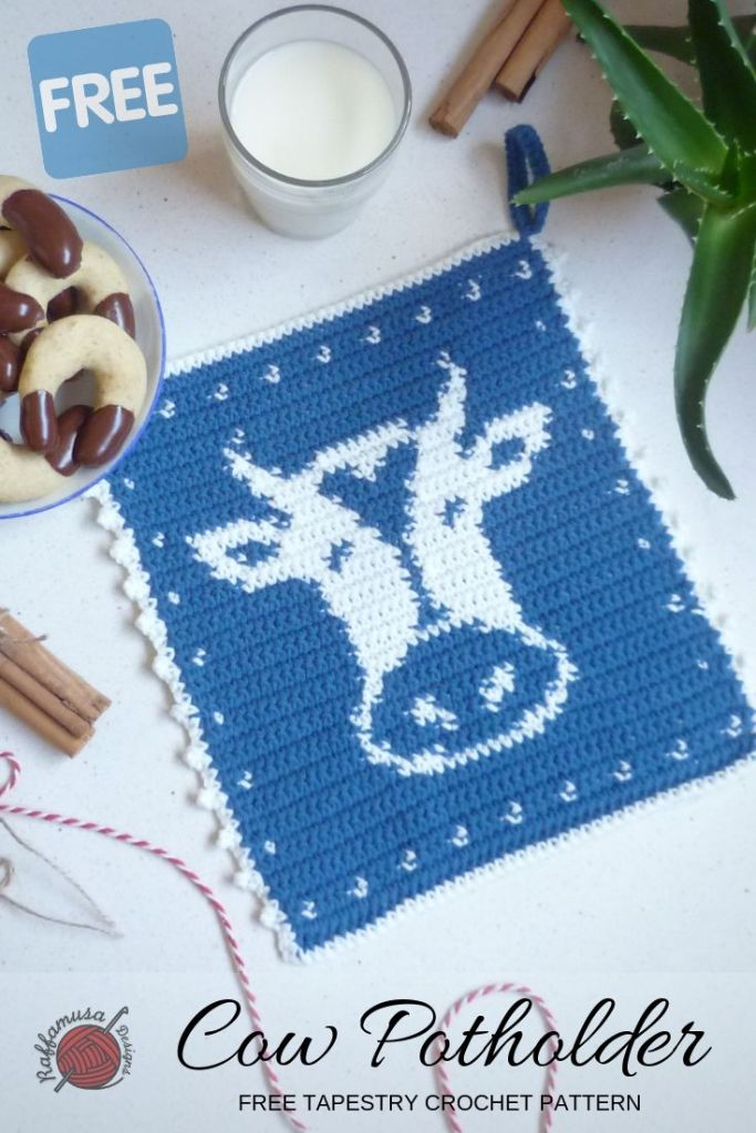 Pin the pattern of the Crochet Cow Potholder for later!
