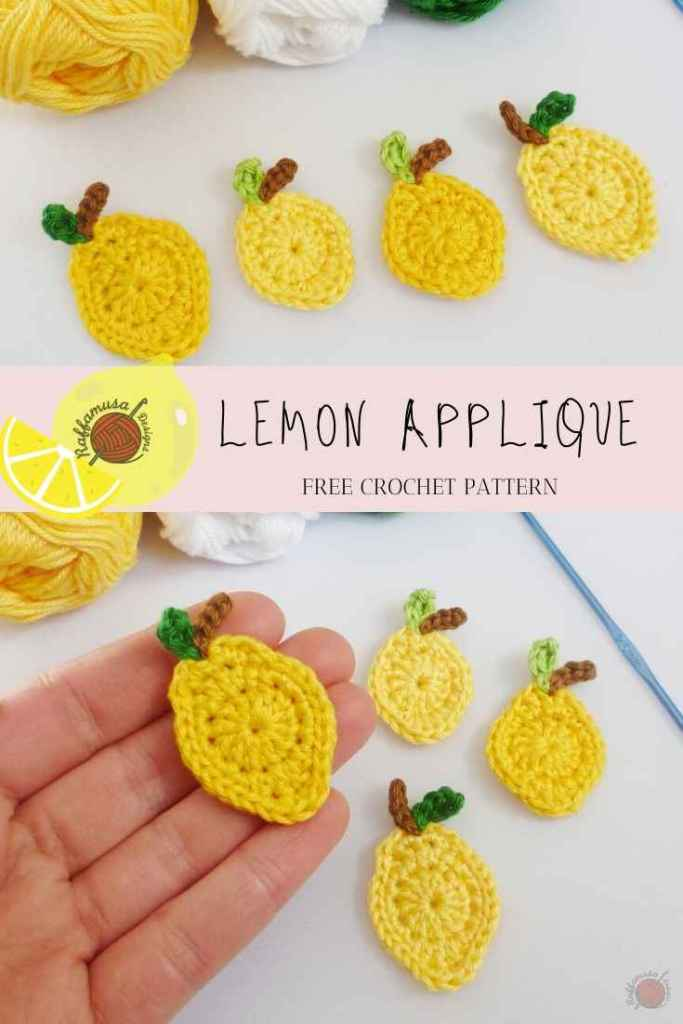 Pin the free pattern of the Crochet Lemon Applique to your Pinterest board