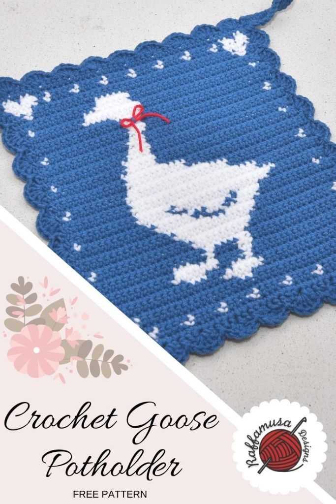 Save the pattern of the Crochet Goose Potholder on Pinterest!