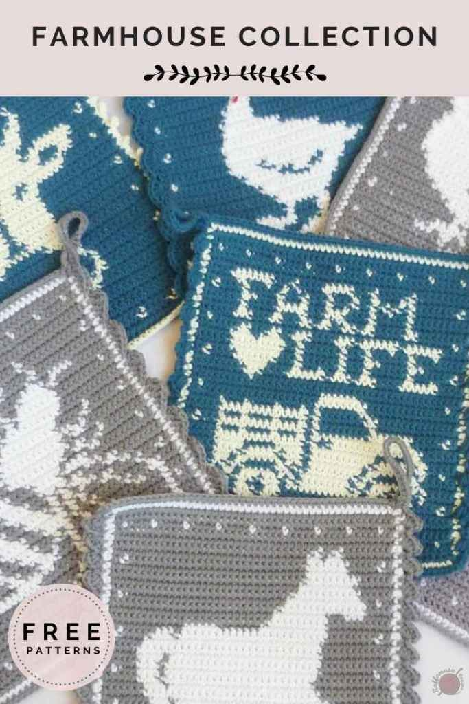 Pin the Farmhouse collection of tapestry crochet potholders to your Pinterest board.