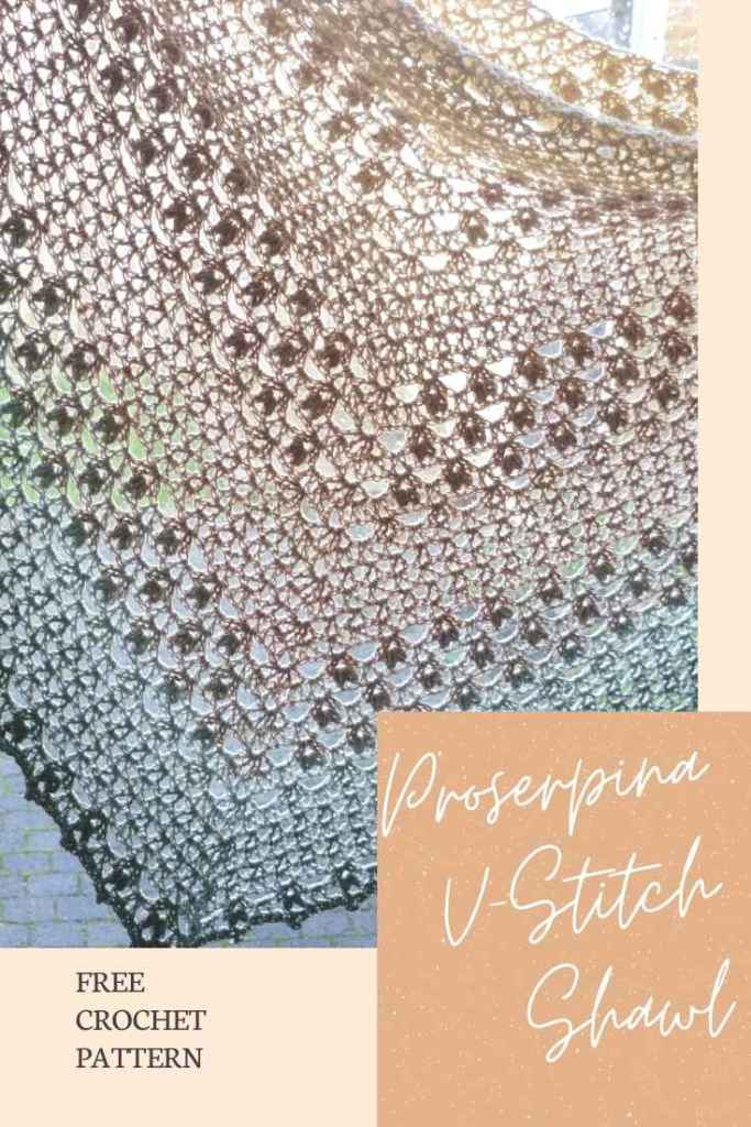 Do not forget to save the free crochet pattern of the Proserpina V-Stitch Shawl to your Pinterest board