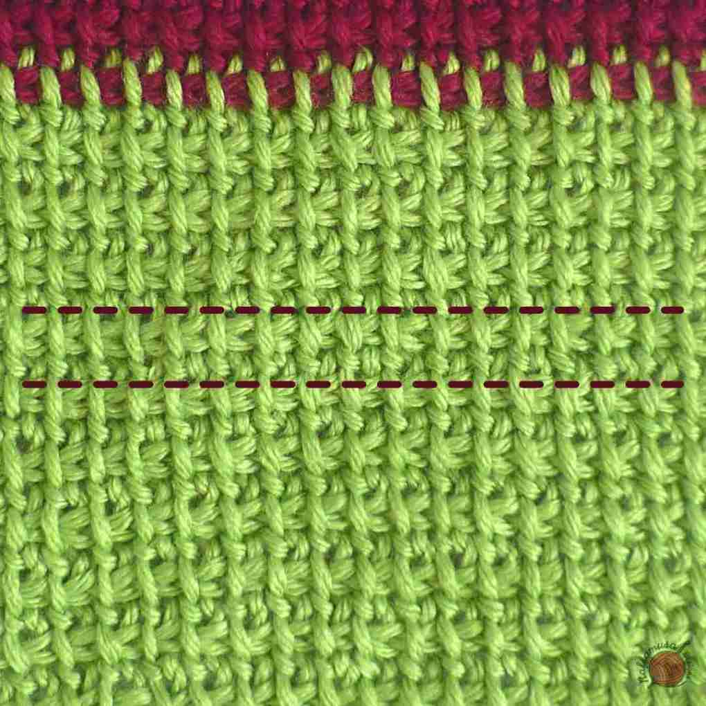In between the dashed lines, you can see one row of Tunisian Extended Stitch