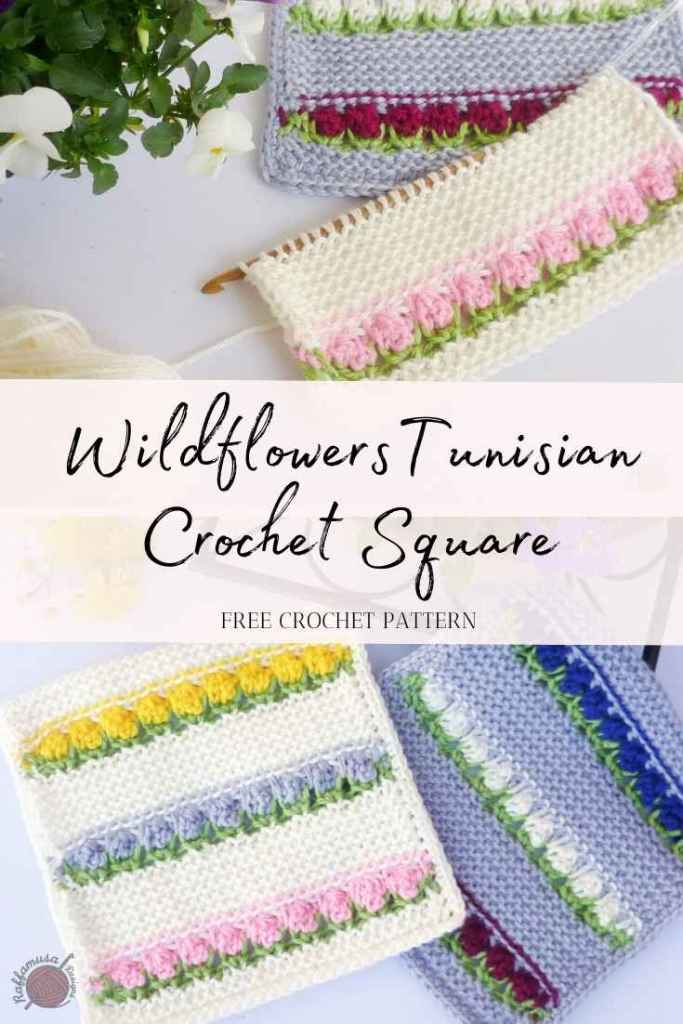 Do not forget to Pin the pattern and tutorial of the Wildflowers Tunisian Crochet Square to your Pinterest board