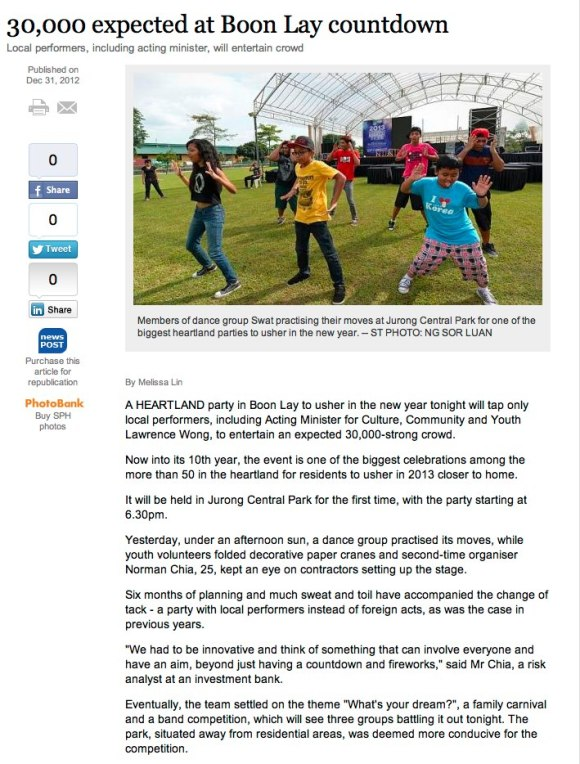 Online version of the front page Straits Time article featuring Countdown @Boon Lay 2013