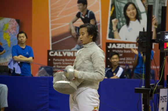 Christabel taking a breather in the finals