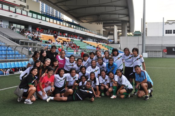 The soccer girls with teachers Mr Leong Chee Mun, Mr Man and Ms Jo Chan