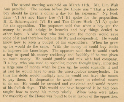 An excerpt mentioning Mr Lee from The Rafflesian Issue 27 in 1936. Image credits to Raffles Archives and Museum
