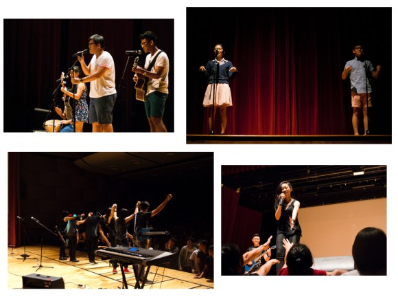 Clockwise, from top left: The impassioned gazes of Tofu Bloc; Karen, Isaiah and the distance in between; Nicole Sim () interacting with the audience; The Diversion taking a final bow after an electrifying stage