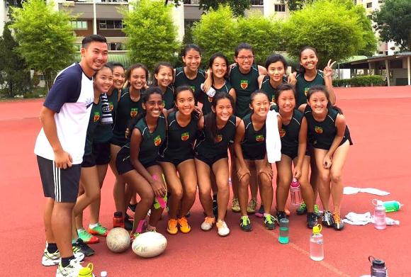 Raffles Touch Rugby - Team of 2015, along with their coach Mr Weigen