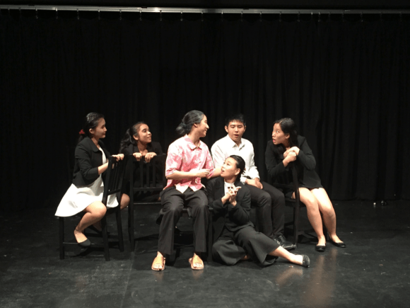 """A scene from one of our J1 Production plays, """"Mama Looking for Her Cat"""", which featured 3 different languages and which had Alison (centre) getting back in touch with her Hokkien roots."""