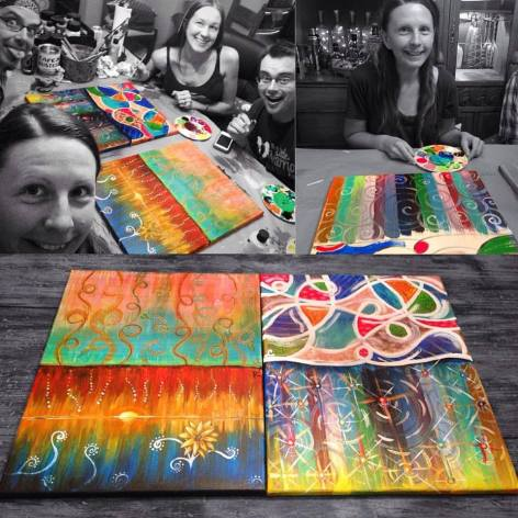 Klee and Rafi Painting with Friends