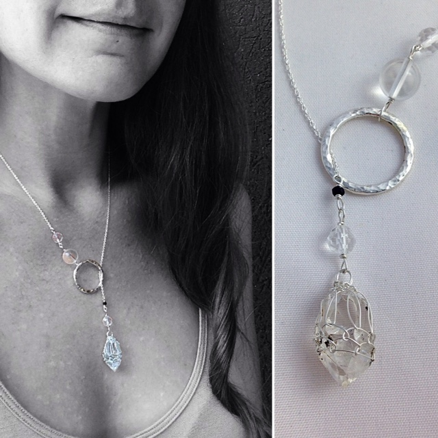 Herkimer Diamond Quartz and Hammered Sterling Silver Lariat By Klee Angelie