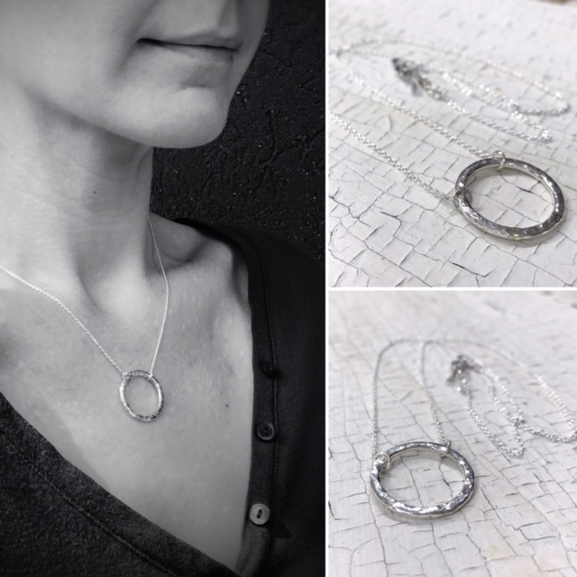 Rustic Hammered Textured Sterling Silver Circle Necklace By Klee Angelie