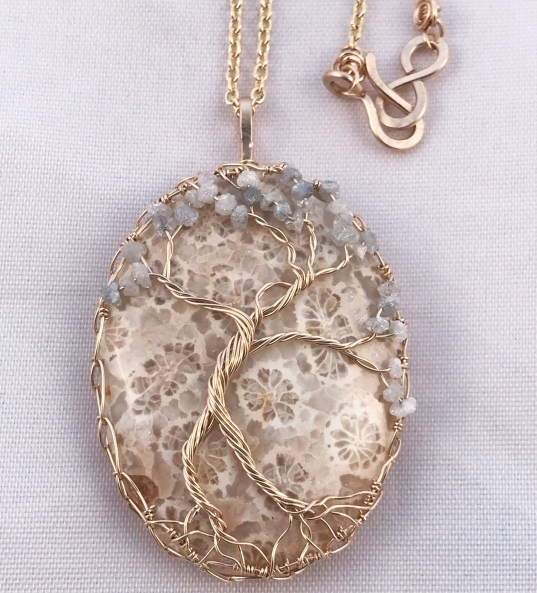 Tree Of Life Pendant Necklace - Lady Tree - 14k Yellow Gold Filled - Fossilized Coral - Genuine Grey White Diamonds - First Bloom