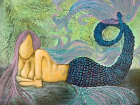 Purple Metallic Mermaid Original Painting by Artist Rafi Perez
