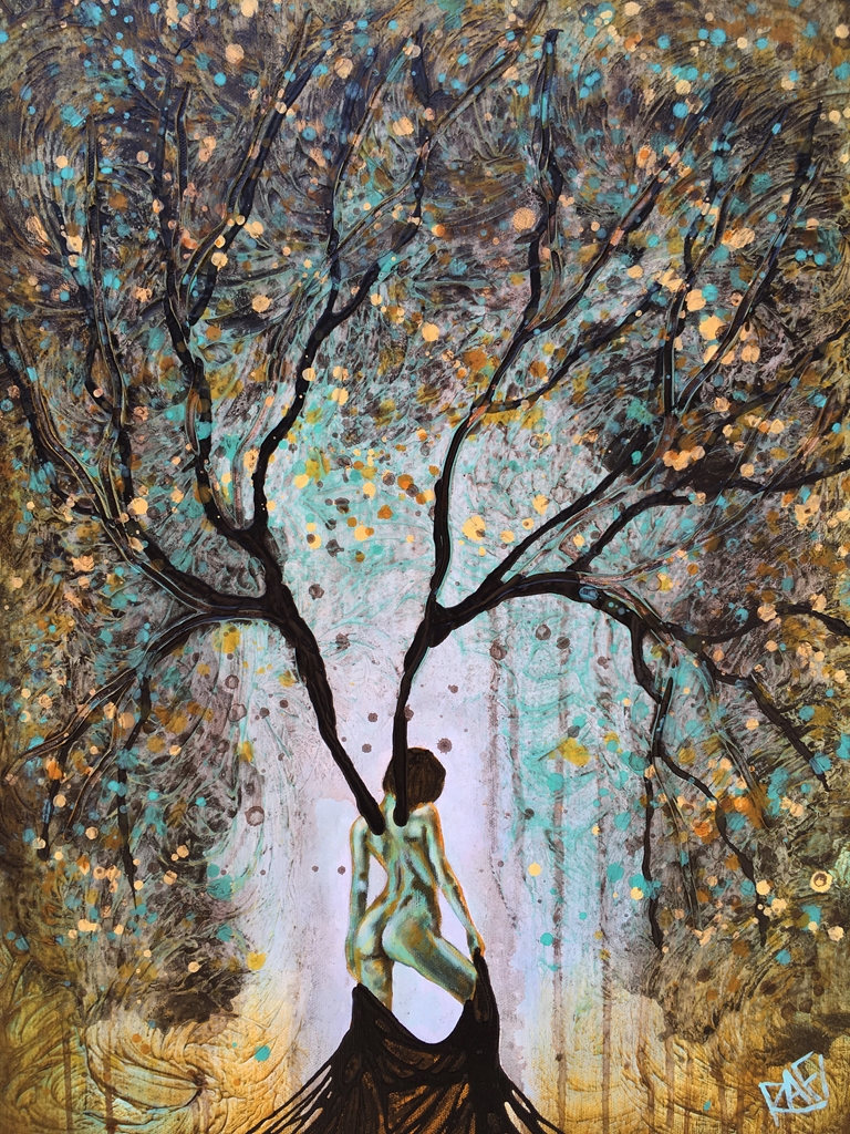 Tree Woman Art : woman, Original, Painting, Woman, Summer, Artist, Perez, Mixed, Medium, Canvas, 18X24, Studios