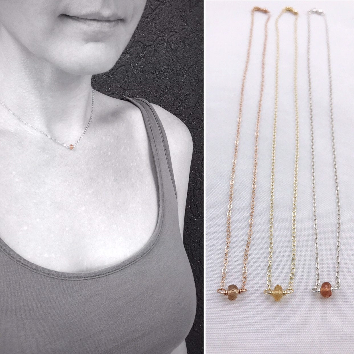 Dainty Imperial Topaz Bar Necklace on 14K Gold Filled 18 Inch length November Birthstone Jewelry