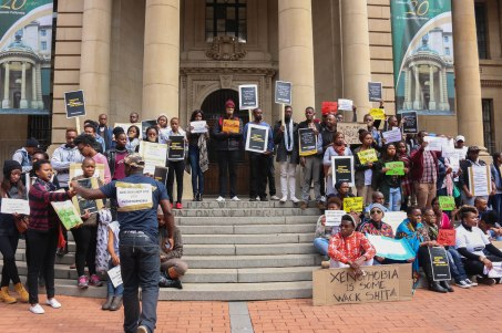 Young people form Johannesburg come together in Johannesburg CBD to protest against xenophobia. The group of about 100 young people mobilised themselves through varioua social media platforms. They held a silent protest, marching from Luthuli house to the Gauteng Legislature building.