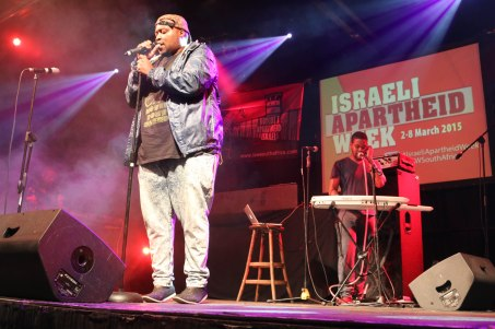 Tumi Morake was among the list of performers at a hip hop event hosted by Boycott Divestments and Sanctions (BDS). The event was organised to promote the boycott Israel campaign movement and had a great turn out of young activists.