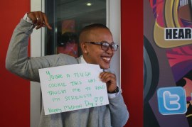 Lerato Makate, programme manager at VOWfm shows her love by writing a message to her mom for mother's day.