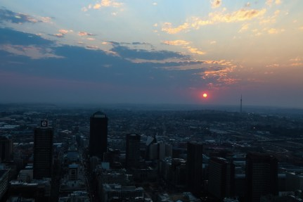 The Johannesburg sunset is one of the amazing views. This is a view from The Carlton, which is considered the tallest building in Africa. You can see all sides of the city from the top.