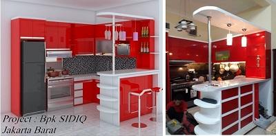 minibar minimalis warna merah