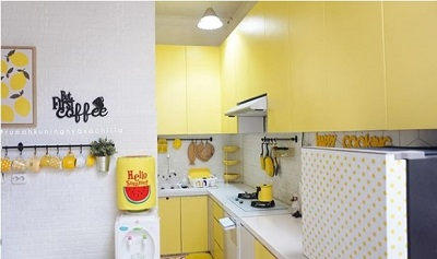 ruangan Dapur Sederhana Warna Kuning Cerah
