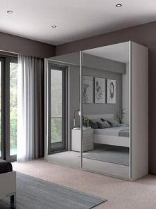 lemari pakaian sliding aluminium 2 pintu kaca