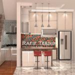 Model Kitchen Aluminium Motif Kayu yang Modern