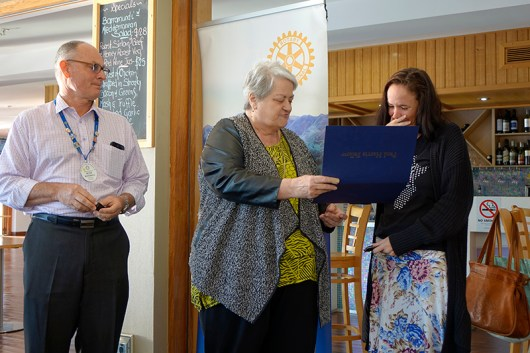 Sarah Rosborg presented with 'Paul Harris Fellow Award' by Rotary