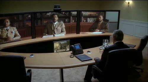 극 중 Cisco 텔레프레젠스 시스템을 이용한 영상회의 장면 (© 2009 20th Century Fox / 출처: 시스코 코리아 블로그)