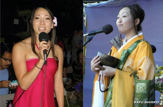 Left: Nisei Week Queen Erika Olsen made one of her final appearances before the Nisei Week Festival, where her successor will be crowned. Right: Rev. Nobuko Miyoshi spoke about the significance of Obon in English. The Japanese explanation was given by Rev. Kenjun Kawawata. (J.K. YAMAMOTO/Rafu Shimpo)