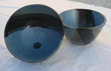 Bold black accents on deep blue ceramic pieces come from Teruko Ishikawa. (Courtesy of Ai Ceramics)