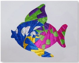 Eye-catching layered metallic papers make up the design for a dolphin card from SFSU student Lauren Nosaka. (Tomodachi8)