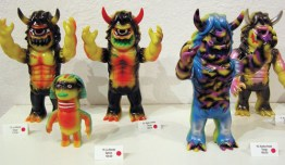 """These sculpted figures by Kiyoka Ikeda were featured in the art exhibit """"Misty Fog's Combat Rock"""" held earlier this year at GR2. Ikeda is a member of the kaiju toy company Gargamel. Prices range from $60-500. Other merchandise from this show—including t-shirts—are available. See giantrobot.com for pricing and availability."""