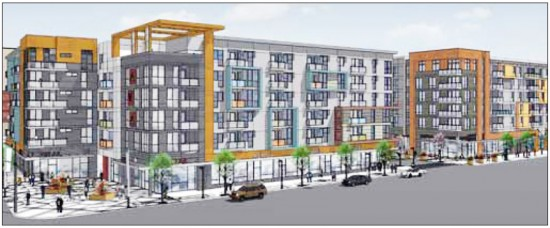 A rendering of AVA Little Tokyo, now under construction at Los Angeles and Second streets.