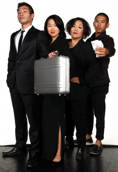 """From left: Nelson Lee, Jackie Chung, Emily Kuroda and Lawrence Kao star in South Coast Repertory's 2013 world premiere production of """"Fast Company"""" by Carla Ching. (Photo by Debora Robinson/SCR)"""