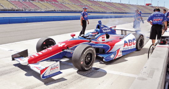 Takuma Sato peels out of the pits during testing day on Sept. 24. (Photo by Tim Yuji Yamamoto)
