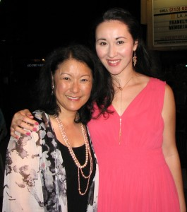 "Patti Yasutake and Ruth Coughlin at the opening night reception for ""Steel Magnolias."" (J.K. YAMAMOTO/Rafu Shimpo)"